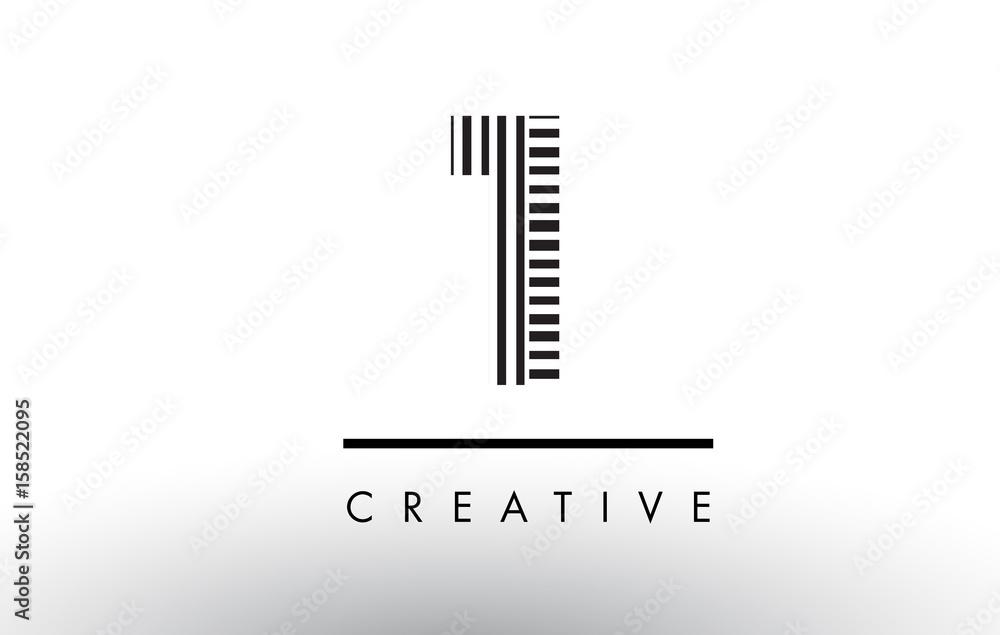 Fototapeta 1 Black and White Lines Number Logo Design.