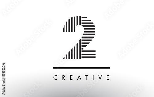 2 Black and White Lines Number Logo Design.