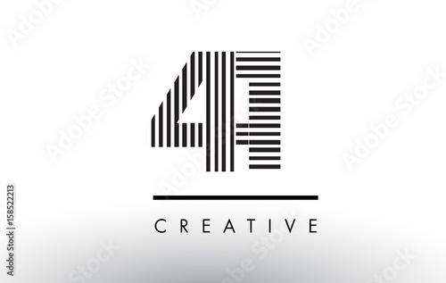 Tela  41 Black and White Lines Number Logo Design.