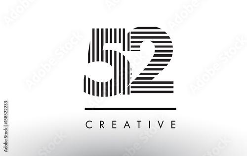 Fotomural 52 Black and White Lines Number Logo Design.