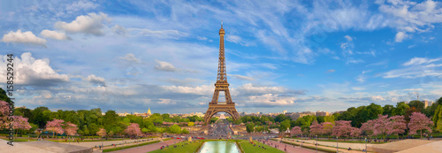 Foto auf Gartenposter Stadtgebaude Panoramic image of Eiffel tower from Trocadero in Spring.