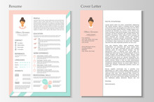 Feminine Resume With Infographic Design. Stylish CV Set For Women.