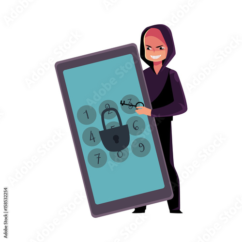 Hacker In Black Hoodie Breaking Phone Smartphone Pin Code Cracking Screen Lock Cartoon Vector Illustration Isolated On White Background Hacking Breaking Cracking Phone Screen Lock Pin Code Buy This Stock Vector