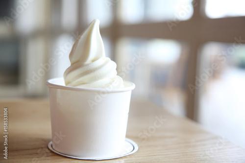 Fotografie, Obraz  Japaese soft cream on wood