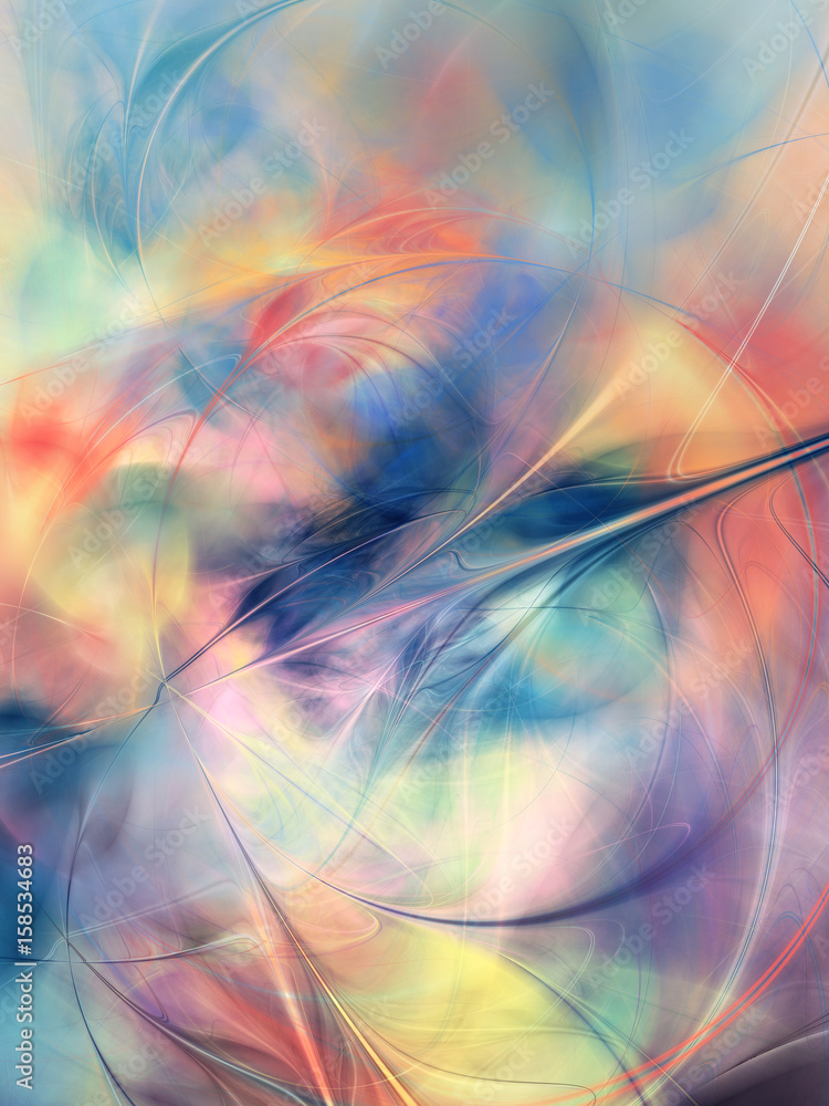 Colorful digital abstract painting of blurry shapes and colors on a background