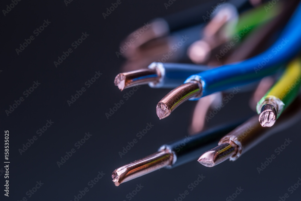 Fototapety, obrazy: Group of colored electrical cables - studio shot.