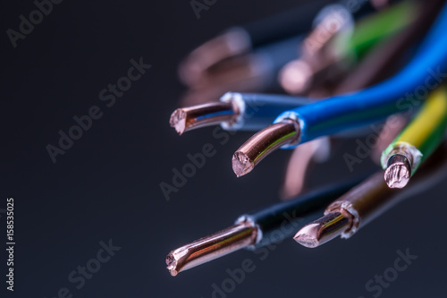 Obraz Group of colored electrical cables - studio shot. - fototapety do salonu