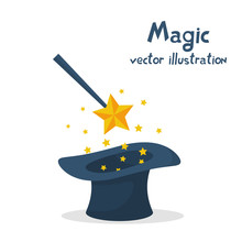 Magic Hat And Wand With Sparkles. Abracadabra Cartoon. Magical Stars Glow. Vector Illustration Flat Design. Isolated On White Background. Tricks, Focus And Illusions.