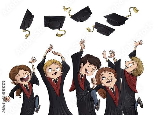 Leinwand Poster chicos felices de graduacion