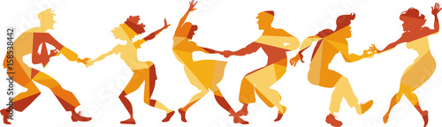 Polygonal vector silhouette of people dancing swing, lindy hop or rock and ro...