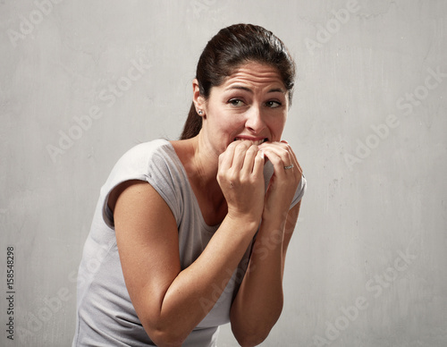 Valokuvatapetti Scared afraid woman