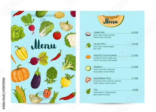 Vegan cafe food menu design vector illustration ...