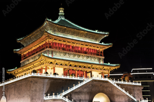 Foto op Plexiglas Xian Bell Tower of Xi'an, located in the heart of downtown Xi'an, China