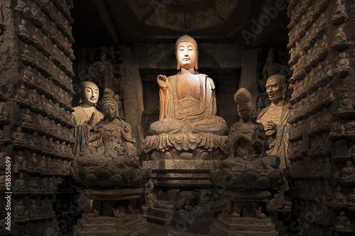 Tuinposter Xian Stone Buddha and relics from Zhongshan Grottoes Xian, China