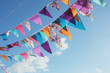 canvas print picture - Summer festive colorful bunting and blue sky