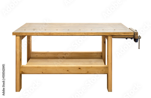 Obraz Wooden workbench with vise - fototapety do salonu