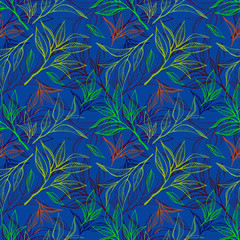 FototapetaTea leaves seamless pattern. Food background in hand drawn style. Colorfull contour on blue