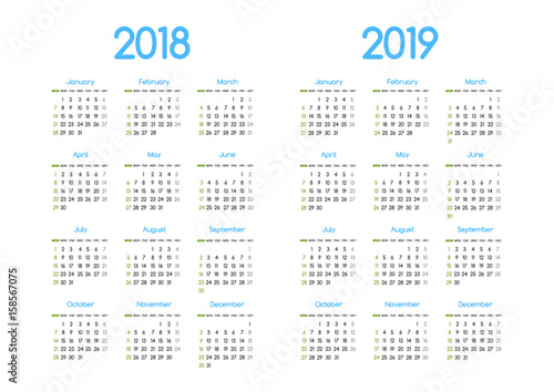 Fotografia  New year 2018 and 2019 vector calendar modern simple design with round san serif