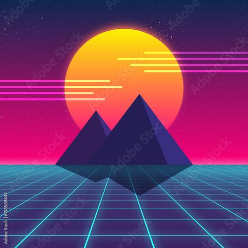 Synthwave retro design, Pyramids and sun, vector illustration Canvas Print