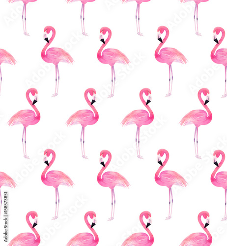 Watercolor seamless pattern with exotic flamingo. Summer decoration print for wrapping, wallpaper, fabric, birthday, celebration