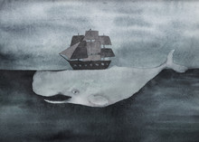 Watercolor Whale With Ship  In The Ocean. Vintage Surreal Illustration. Hand Drawn Image