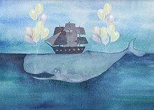 Watercolor Whale With Ship And Air Balloons In The Ocean. Vintage Surreal Illustration