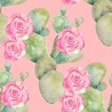 Akwarela tropikalny kaktus wzór. Kolorowy druk bez szwu - 158576404