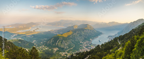 Photo Kotor bay seen from above, Montenegro