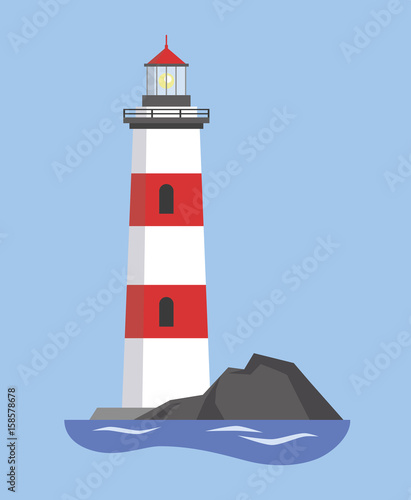 The image of the lighthouse on the mountain. Vector illustration. Canvas Print