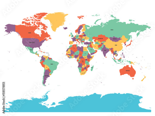 Political map of world with Antarctica. Countries in four ...