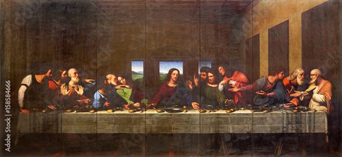 TURIN, ITALY - MARCH 13, 2017: The painting of Last Supper in Duomo after Leonardo da Vinci by Vercellese Luigi Cagna (1836) Tableau sur Toile