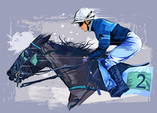 Horse With Jockey On Grunge Ba...