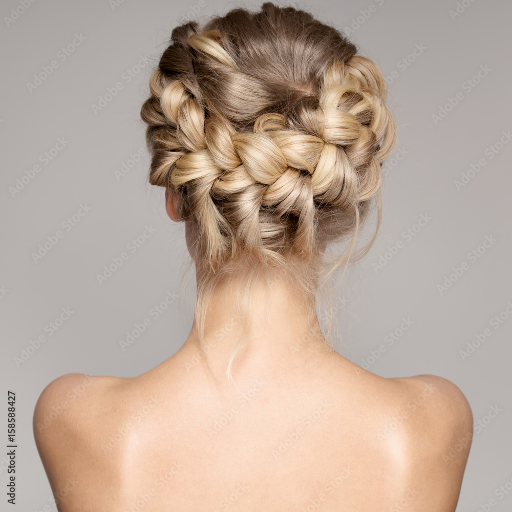 Fototapety, obrazy: Portrait Of A Beautiful Young Blond Woman With Braid Crown Hairstyle.
