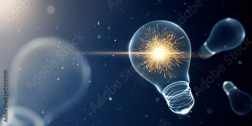 Photo  Light bulb with sparks