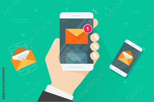Fotografie, Obraz  Email mobile phone notifications vector illustration, flat cartoon smartphone wi
