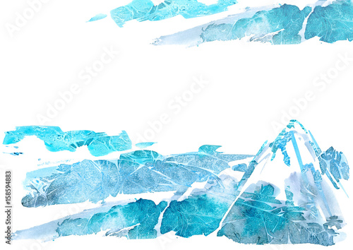 Abstract landscape with mountains and sky.Watery background.Watercolor hand drawn illustration.Wet splash. #158594883