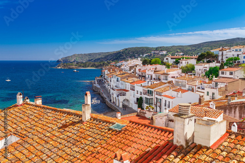 Top view in Cadaques, Catalonia, Spain near of Barcelona Canvas Print