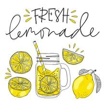 Poster With Lemonade Elements Glass. Lettering Fresh Lemonade Drawing