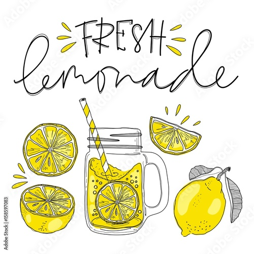 Fotografia, Obraz Poster with lemonade elements glass