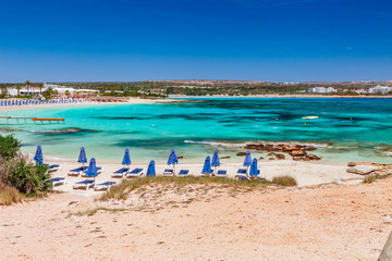 Beautiful landscape near of Nissi beach and Cavo Greco in Ayia Napa, Cyprus island, Mediterranean Sea. Amazing blue green sea and sunny day.