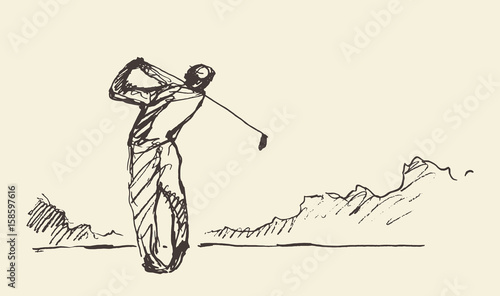 sketch-man-hitting-golf-ball-vector-illustration