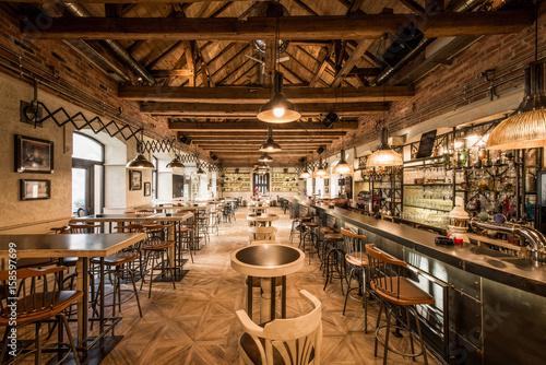 Foto op Canvas Pizzeria Loft wooden interior of caffe restaurant