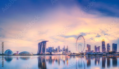 Photo  Singapore skyline background