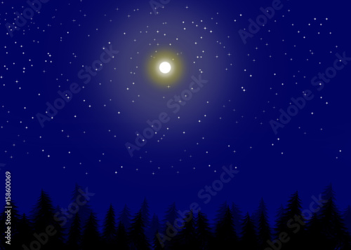 Deurstickers Nacht Full moon