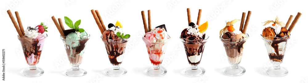 Fototapety, obrazy: Large collection of Ice cream on white