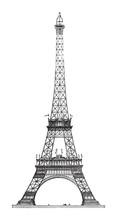 Eiffel Tower In Paris (France) / Vintage Illustration
