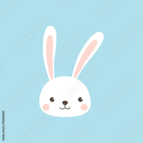 Happy Easter Bunny. Rabbit character Vector illustration for Easter greeting card, invitation with white cute rabbit on sky blue background. Wall mural