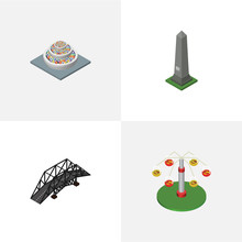 Isometric Urban Set Of Dc Memorial, Expressway, Swing Attraction And Other Vector Objects. Also Includes Bridge, Carousel, Monument Elements.