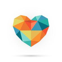 Colorful Polygon Heart.