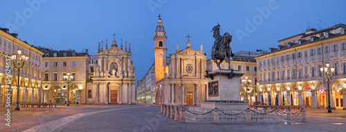 TURIN, ITALY - MARCH 13, 2017: The Piazza San Carlo square at dusk Canvas Print